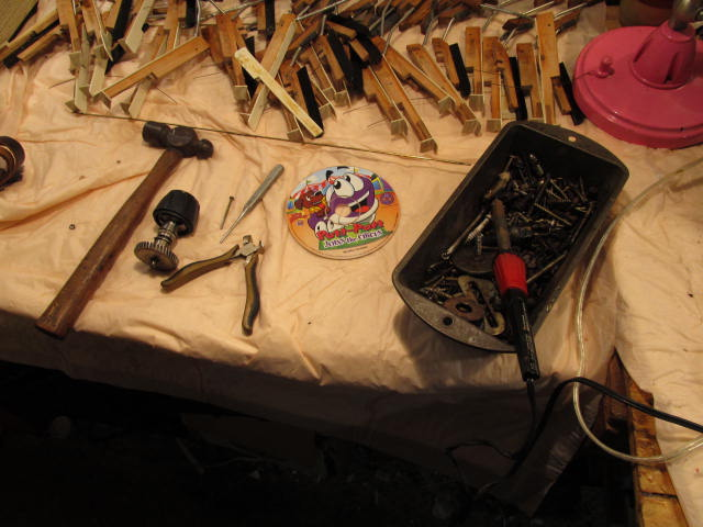 Carefully numbered keys, after we took apart the accordion keyboard